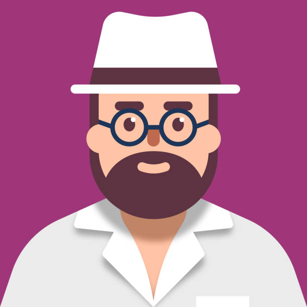 casual bearded man in white shirt and hat face avatar - facial recognition stock illustrations
