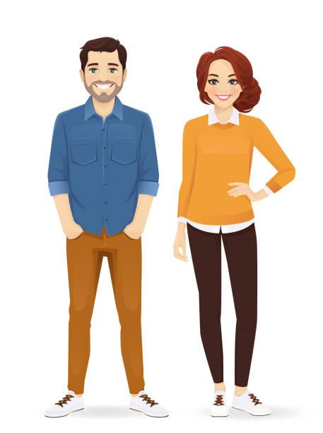 ilustrações de stock, clip art, desenhos animados e ícones de casual business man and woman - homem casual standing sorrir