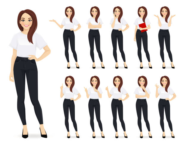 Casual business woman character set Casual business woman character in different poses set vector illustration group of objects stock illustrations