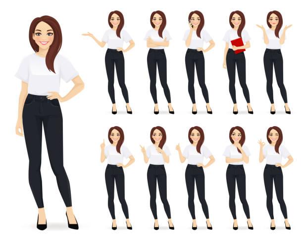 illustrazioni stock, clip art, cartoni animati e icone di tendenza di set di caratteri casual donna d'affari - business woman