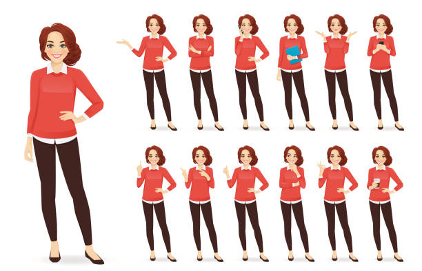 casual business woman character set - young women stock illustrations