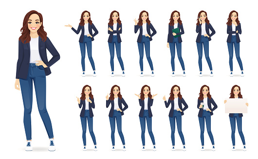 Casual business woman character set
