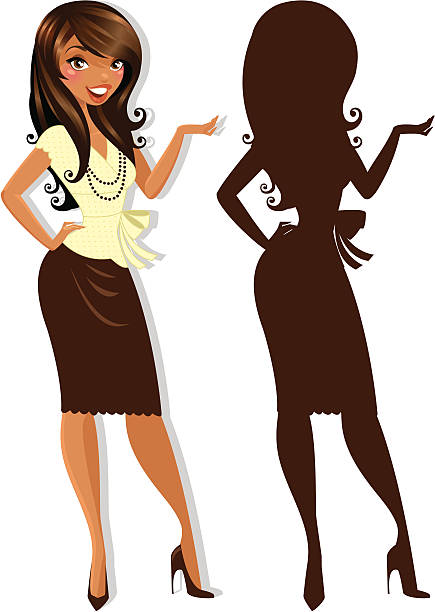 Casual Classy Woman A woman with long dark hair gesturing. heyheydesigns stock illustrations