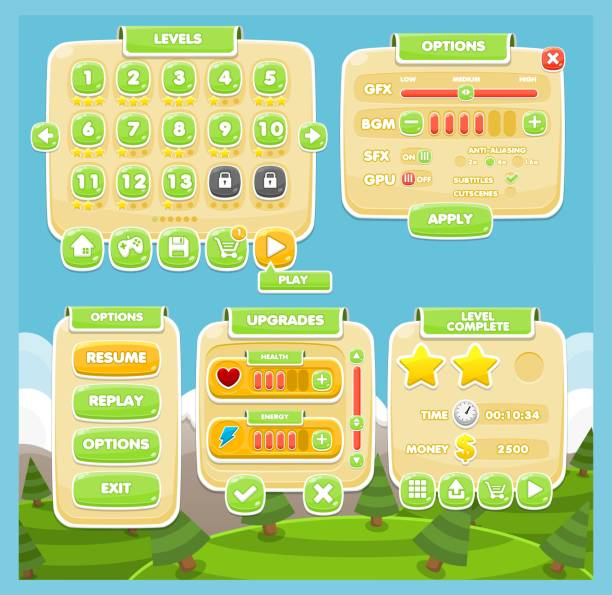 Casual Game UI Set Set contains various user interface elements for creating casual games leisure games stock illustrations