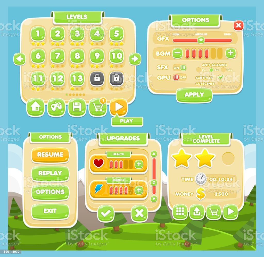 Casual Game UI Set vector art illustration