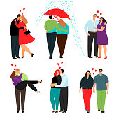 Casual love couples. Happy cartoon young couple in love set with beautiful men and women romance people isolated on white background, vector illustration