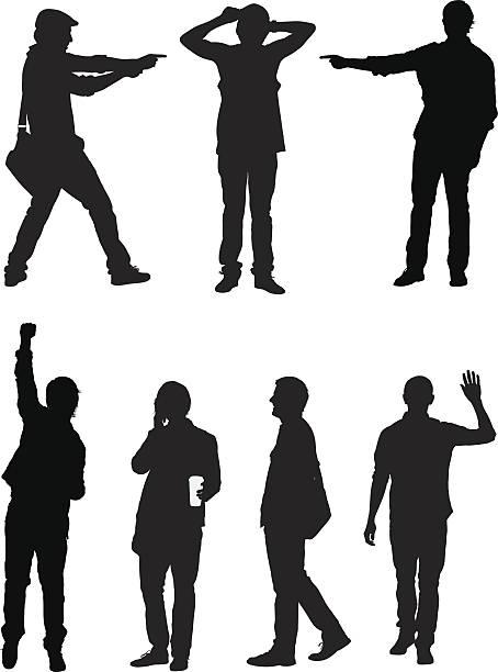 lässig männlich silhouette vektoren - laptoptaschen stock-grafiken, -clipart, -cartoons und -symbole