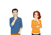 Man and woman in casual clothes thinking isolated vector illustration
