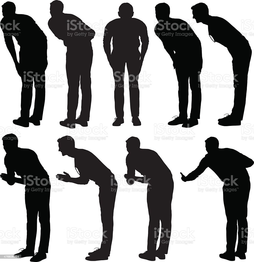 Casual man bowing vector art illustration