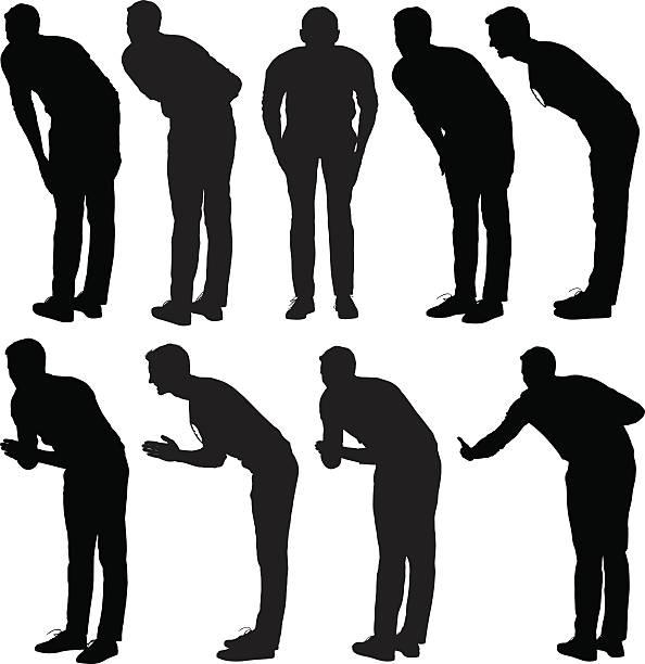 Casual man bowing vector art illustration