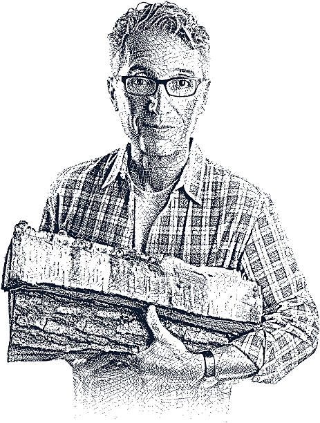 casual man carrying firewood - old man portrait clip art stock illustrations, clip art, cartoons, & icons