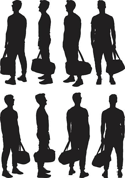 illustrazioni stock, clip art, cartoni animati e icone di tendenza di casual uomo con borsa da palestra e punti di vista diversi - ritratto 360 gradi