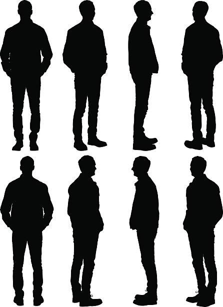 przypadkowy mężczyzna upozowując - mężczyźni stock illustrations