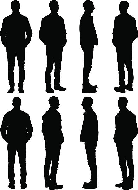 Casual man posing Casual man posinghttp://www.twodozendesign.info/i/1.png in silhouette stock illustrations