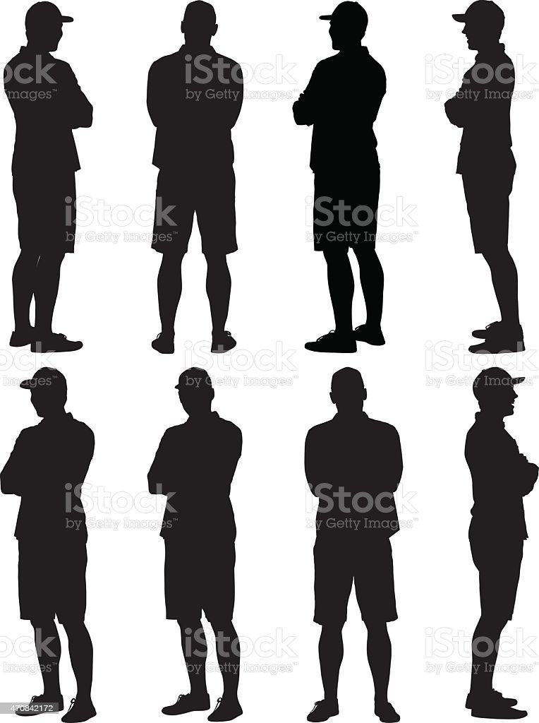 Casual man standing arms crossed vector art illustration