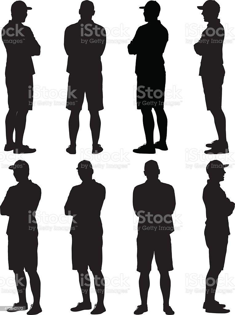 Hombre Casual standing brazos cruzados - ilustración de arte vectorial