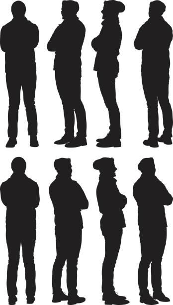 illustrazioni stock, clip art, cartoni animati e icone di tendenza di casuale uomo in piedi in vari vista - ritratto 360 gradi