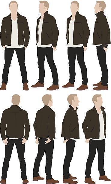 ilustrações, clipart, desenhos animados e ícones de casual homem em pé - só um homem jovem