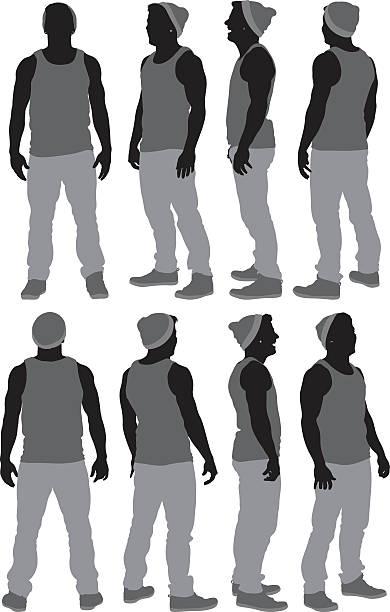 illustrazioni stock, clip art, cartoni animati e icone di tendenza di casual uomo - ritratto 360 gradi