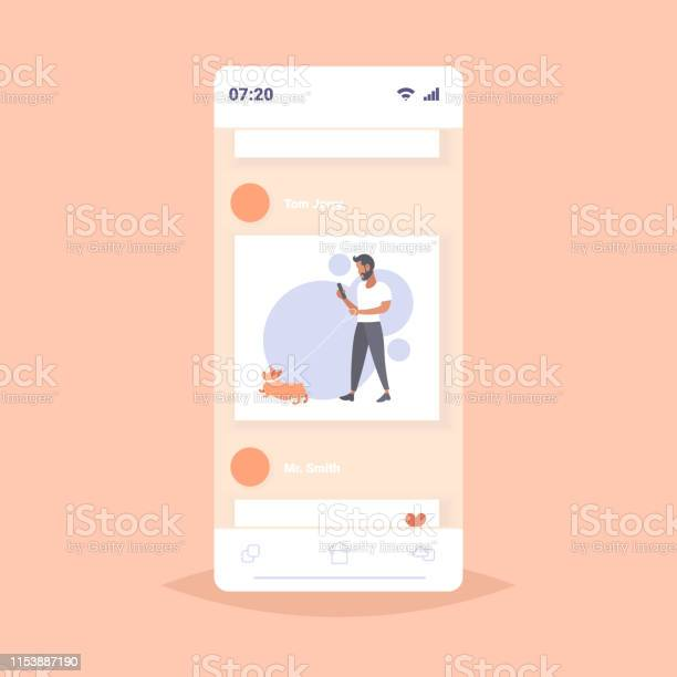 Casual man walking with dog bearded guy using smartphone male person vector id1153887190?b=1&k=6&m=1153887190&s=612x612&h=tflha unoieo8heursq xmrtfm9df68cpzuwuefmzf0=