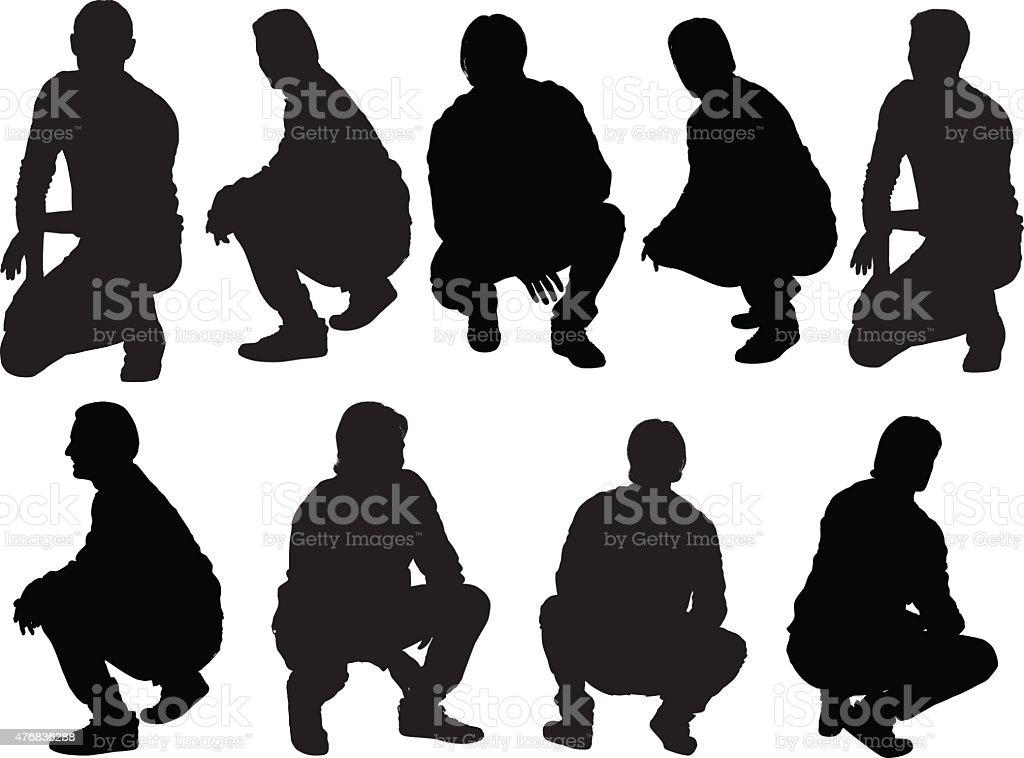 Casual men crouching vector art illustration