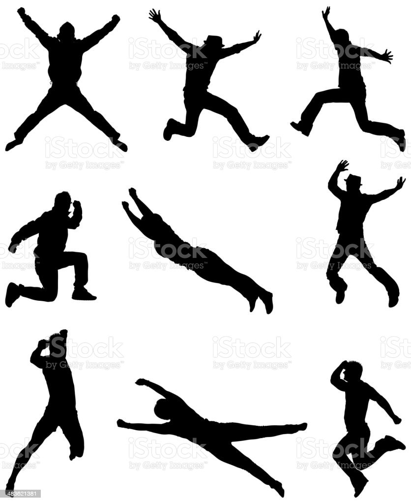 Casual men jumping through the air royalty-free stock vector art