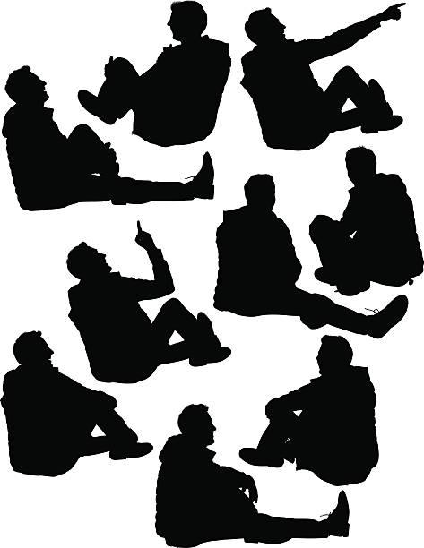 Legerer Mann sitzt auf dem Boden – Vektorgrafik