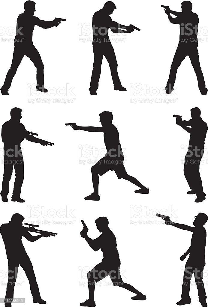 Casual men with guns vector art illustration