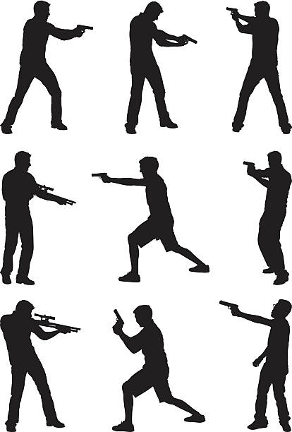 stockillustraties, clipart, cartoons en iconen met casual men with guns - gun shooting