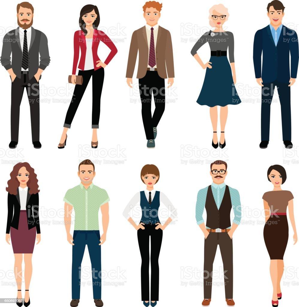 Conjunto de ícones de pessoas escritório casual - ilustração de arte em vetor