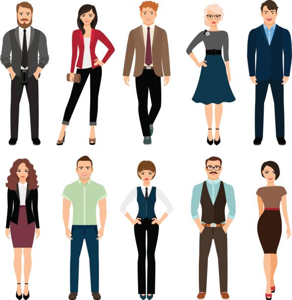 illustrazioni stock, clip art, cartoni animati e icone di tendenza di casual office people icons set - business man