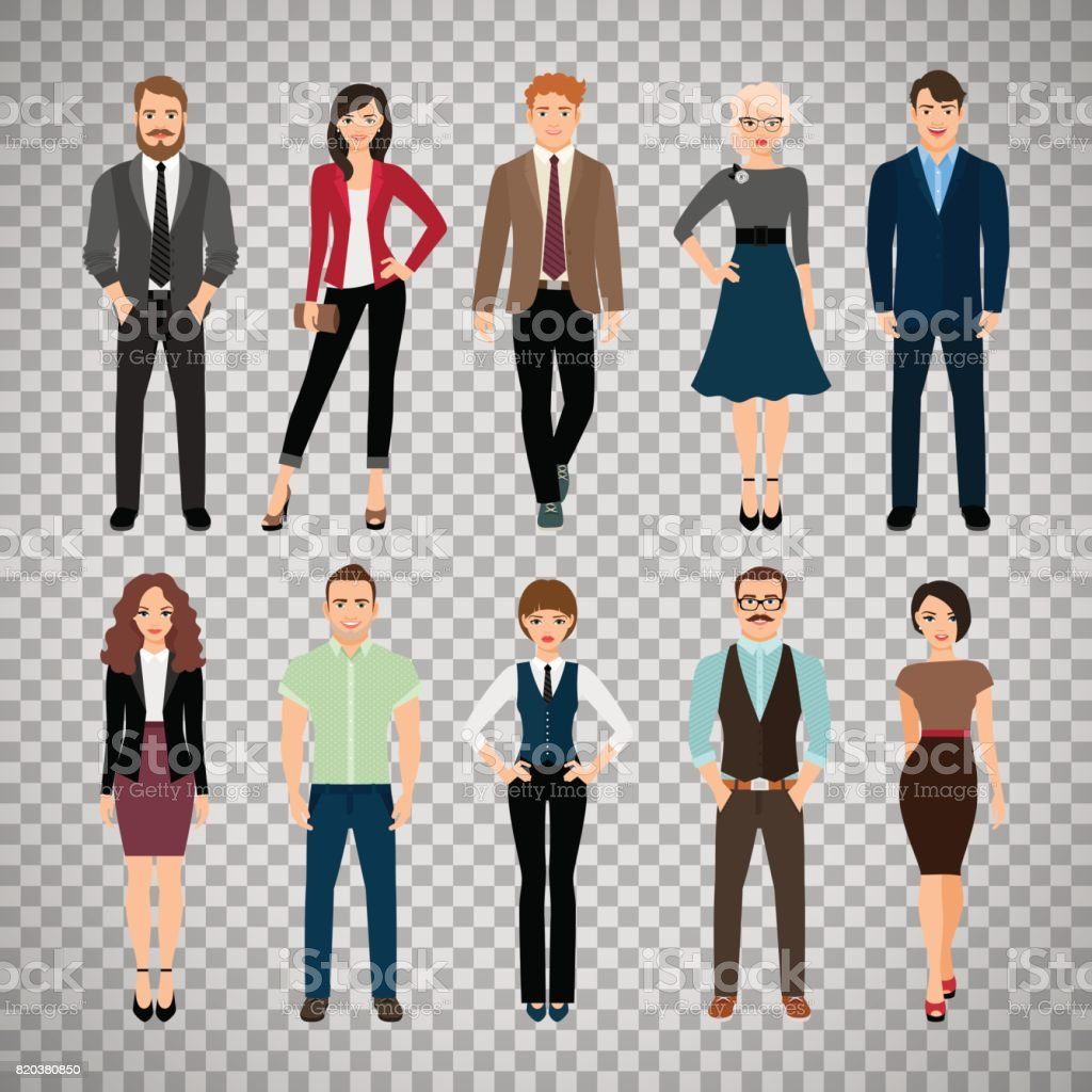 Casual office people on transparent background vector art illustration