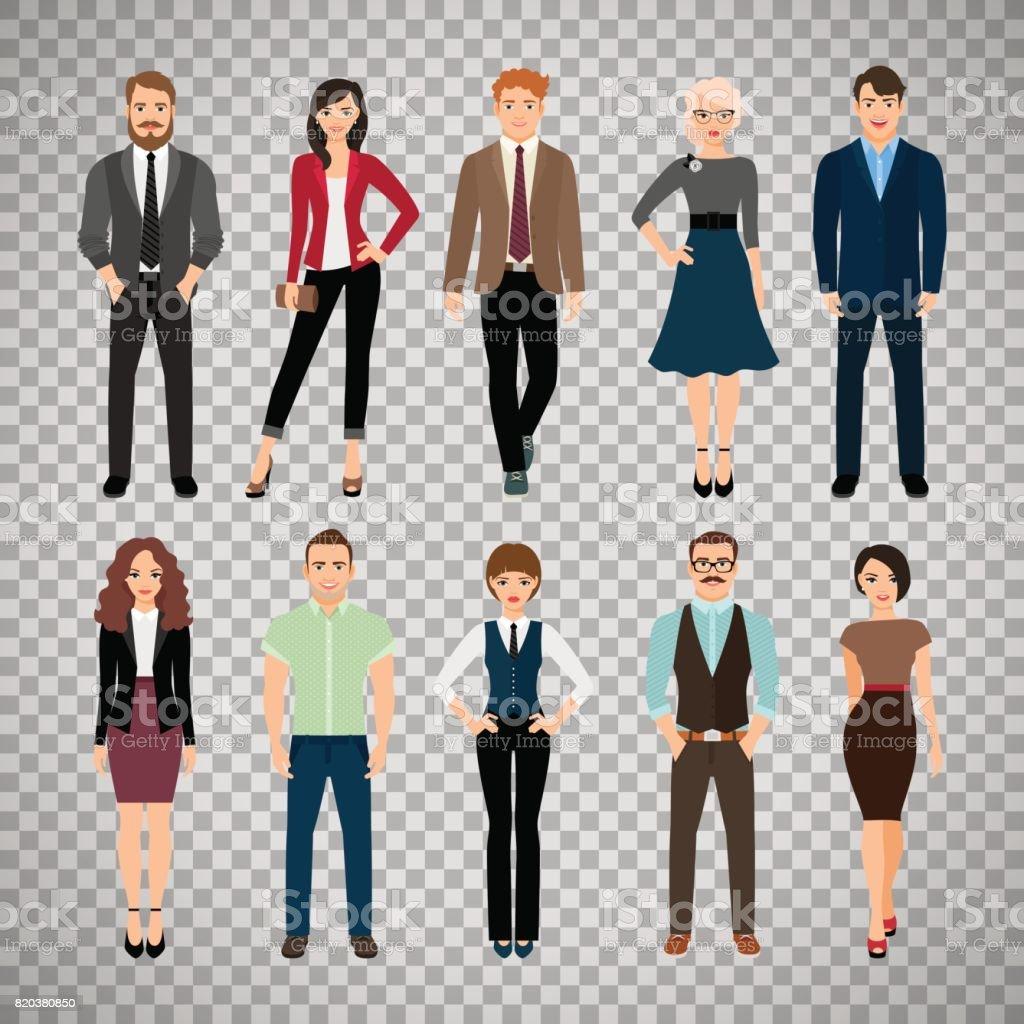 Pessoas do escritório casual em fundo transparente - ilustração de arte em vetor