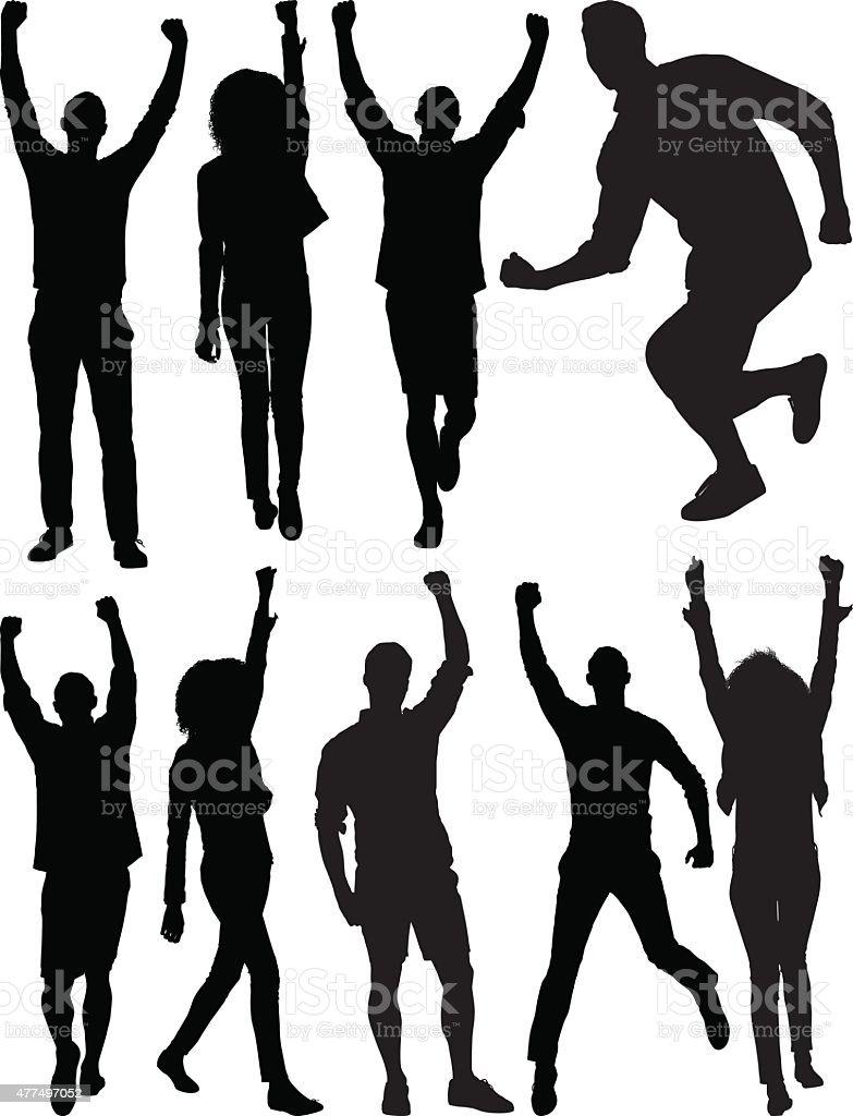 Casual people cheering vector art illustration