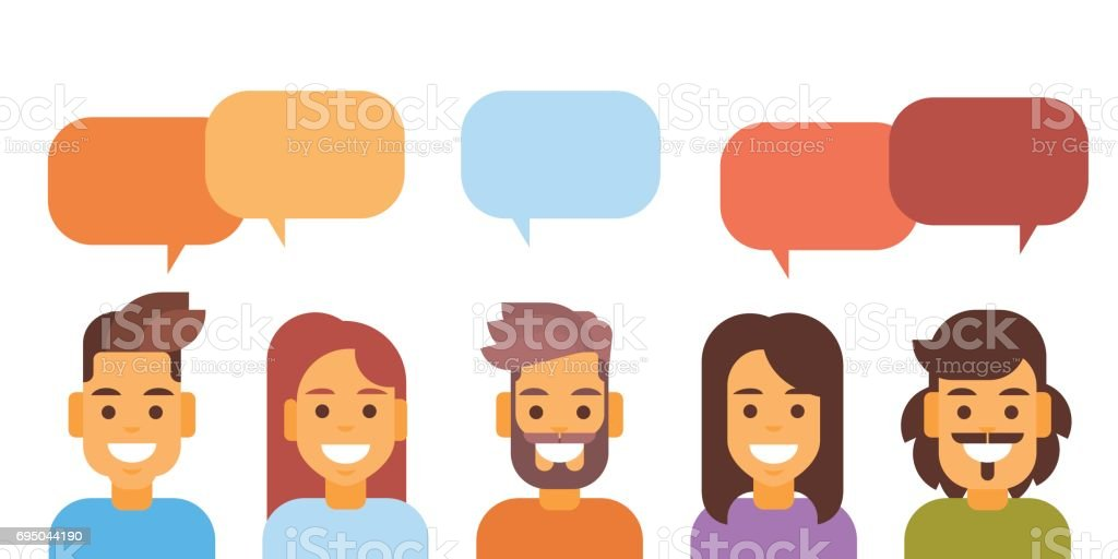 Casual People Group Chat Bubble Media Communication Social Network vector art illustration