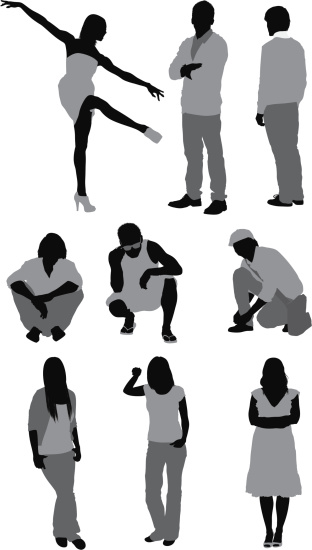 Casual people in different poses