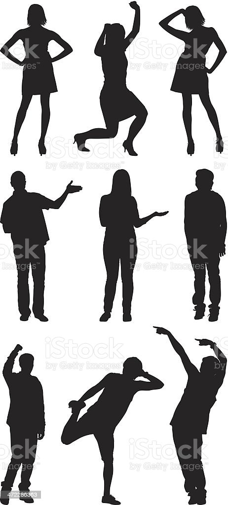 Casual people in different poses royalty-free stock vector art