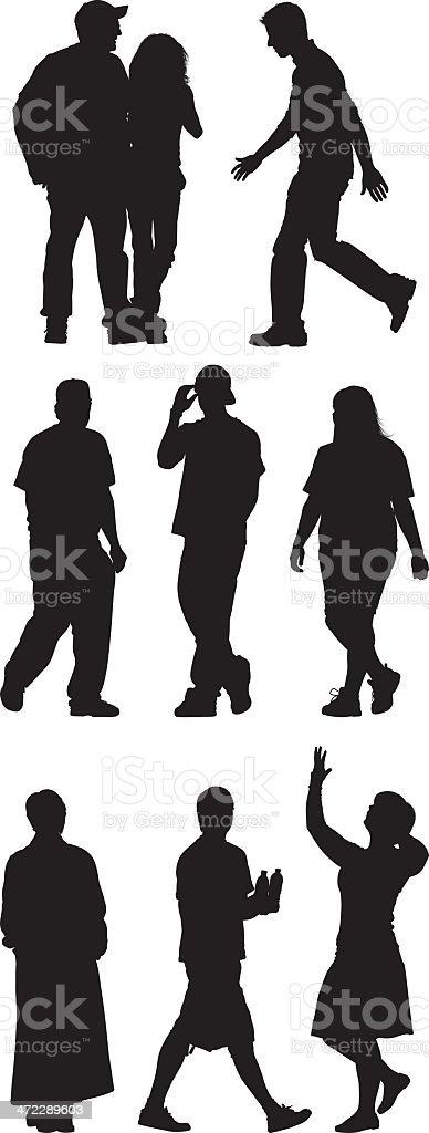 Casual people on street vector art illustration