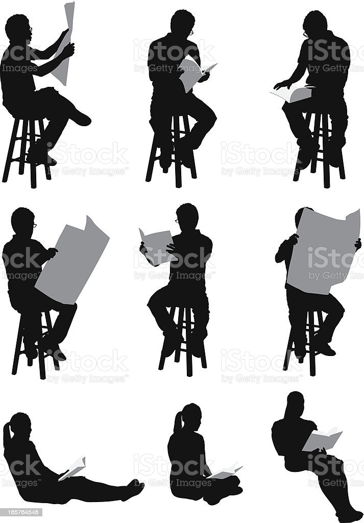 Casual people reading royalty-free stock vector art