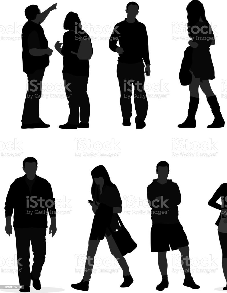 Casual people Silhouette vector art illustration