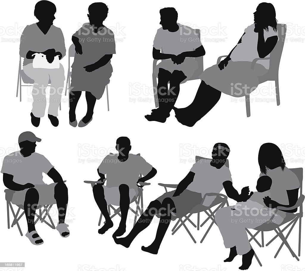 Casual people sitting on chairs vector art illustration
