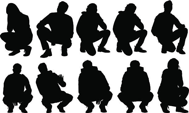 Casual people squatting vector art illustration