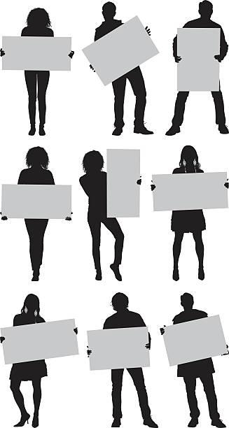 ilustrações de stock, clip art, desenhos animados e ícones de casuais pessoas com placa de manifestação - segurar
