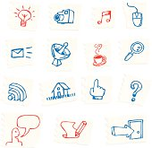 Communication hand-drawing icons.