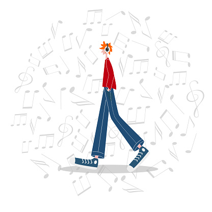Casual weared teenager listens to music with headphones. Music notes background. Character vector illustration. Music festival, teenager hobby.
