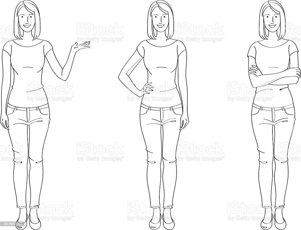 Casual Woman Line Drawing vector art illustration