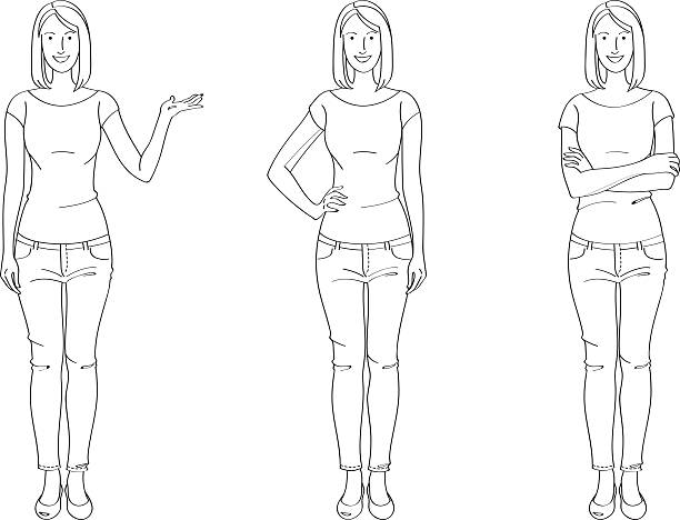 stockillustraties, clipart, cartoons en iconen met casual woman line drawing - in de camera kijken