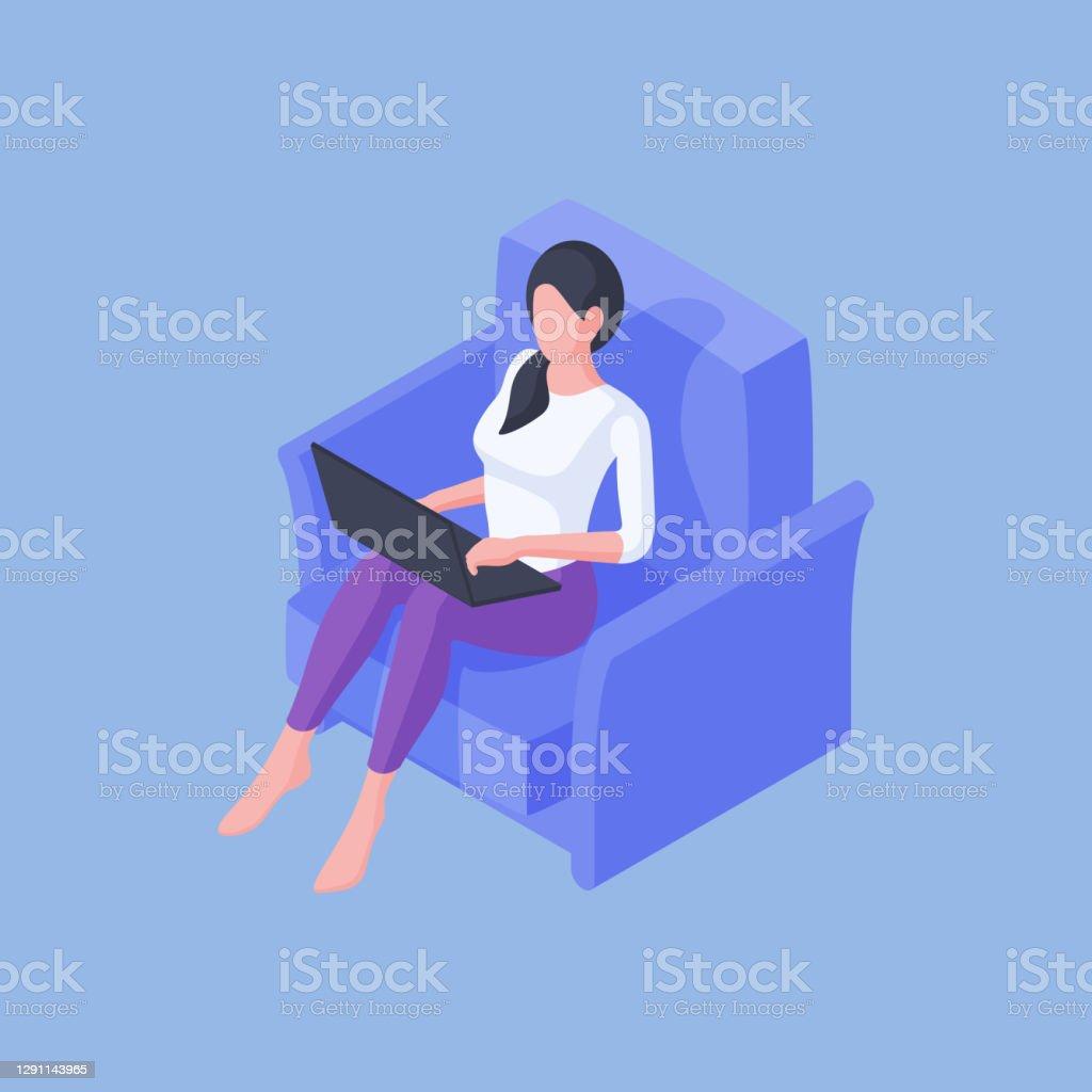 Dorywczo kobieta siedząca z laptopem w fotelu - Grafika wektorowa royalty-free (Budowla mieszkaniowa)