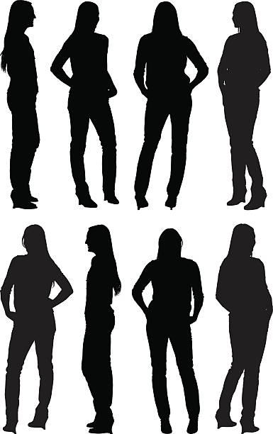 illustrazioni stock, clip art, cartoni animati e icone di tendenza di casual donna in piedi - ritratto 360 gradi
