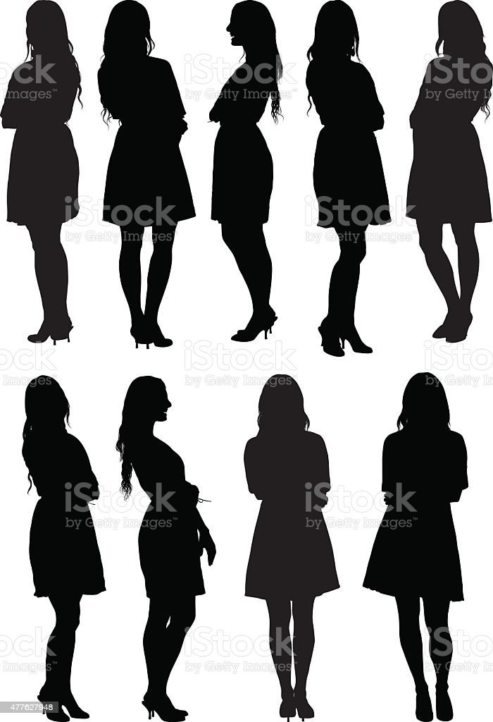 Casual women standing vector art illustration